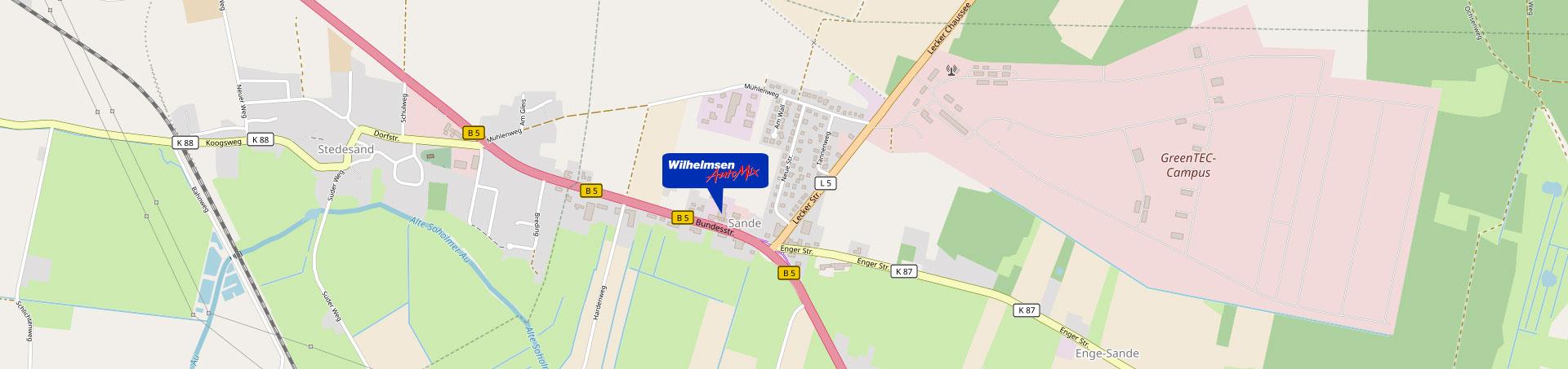 Wilhelmsen AutoMix in Sande direkt an der B5